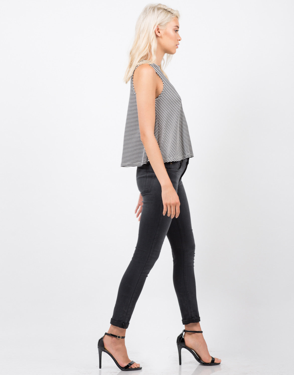 Side View of Knit Striped Sleeveless Tank