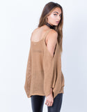 Back View of Knitted Cold Shoulder Sweater Top