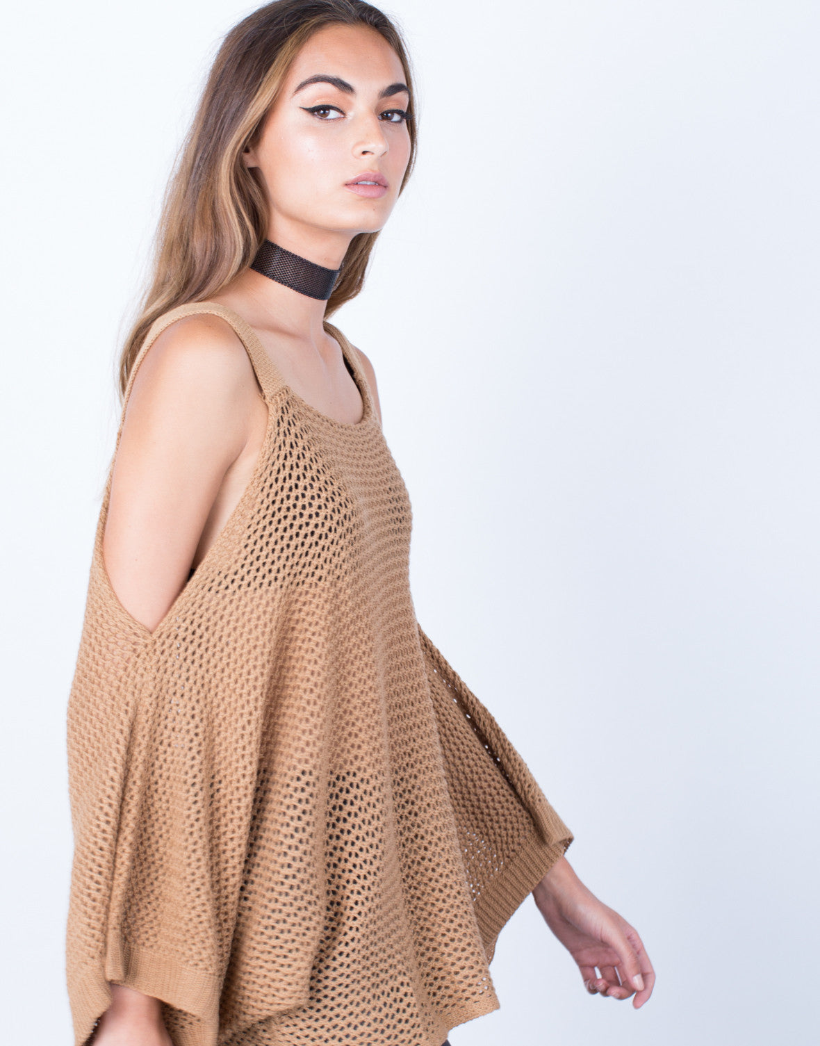 8842b1e560ff3 Knitted Cold Shoulder Sweater Top - Taupe Netted Top - Cold Shoulder ...