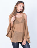 Front View of Knitted Cold Shoulder Sweater Top