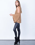 Side View of Knitted Cold Shoulder Sweater Top