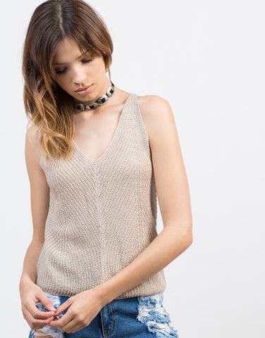 Detail of Knitted Cross Back Tank Top