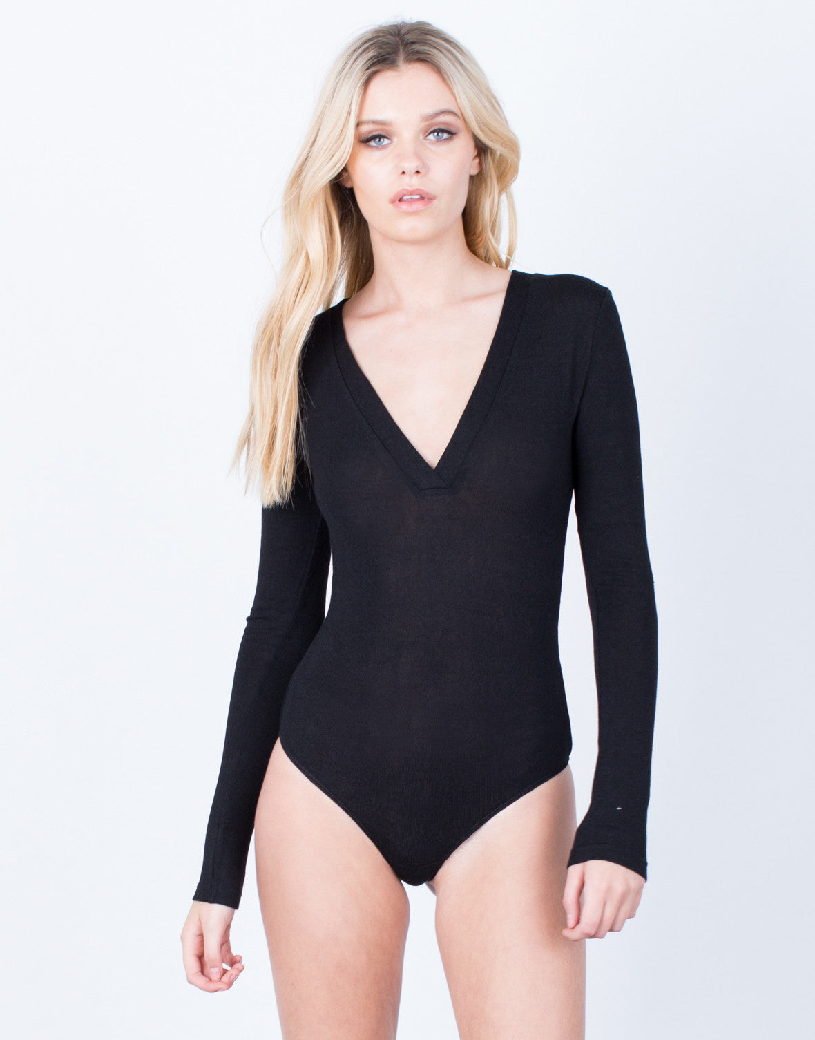 Front View if Knitted Deep V Bodysuit