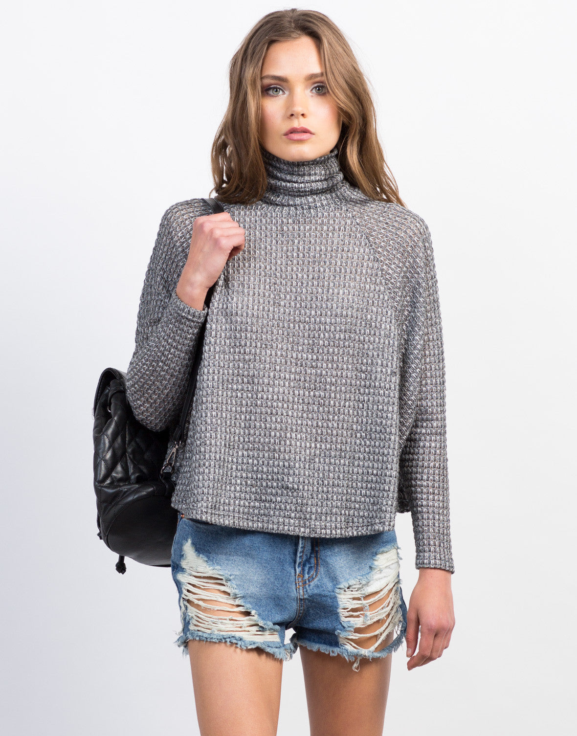 Front View of Knitted Flowy Turtleneck Top