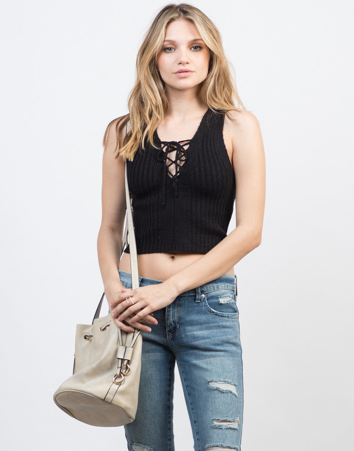 Knitted Lace-Up Crop Top - 2020AVE