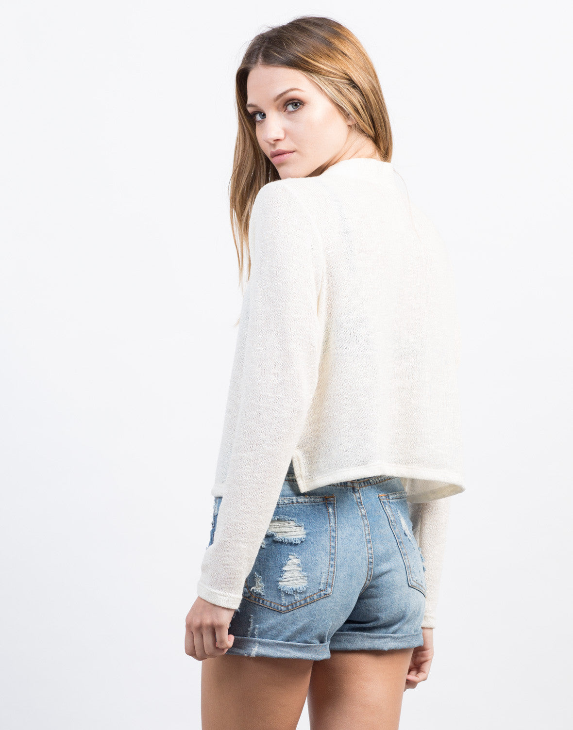 Back View of Knitted Lace-Up Sweater Top
