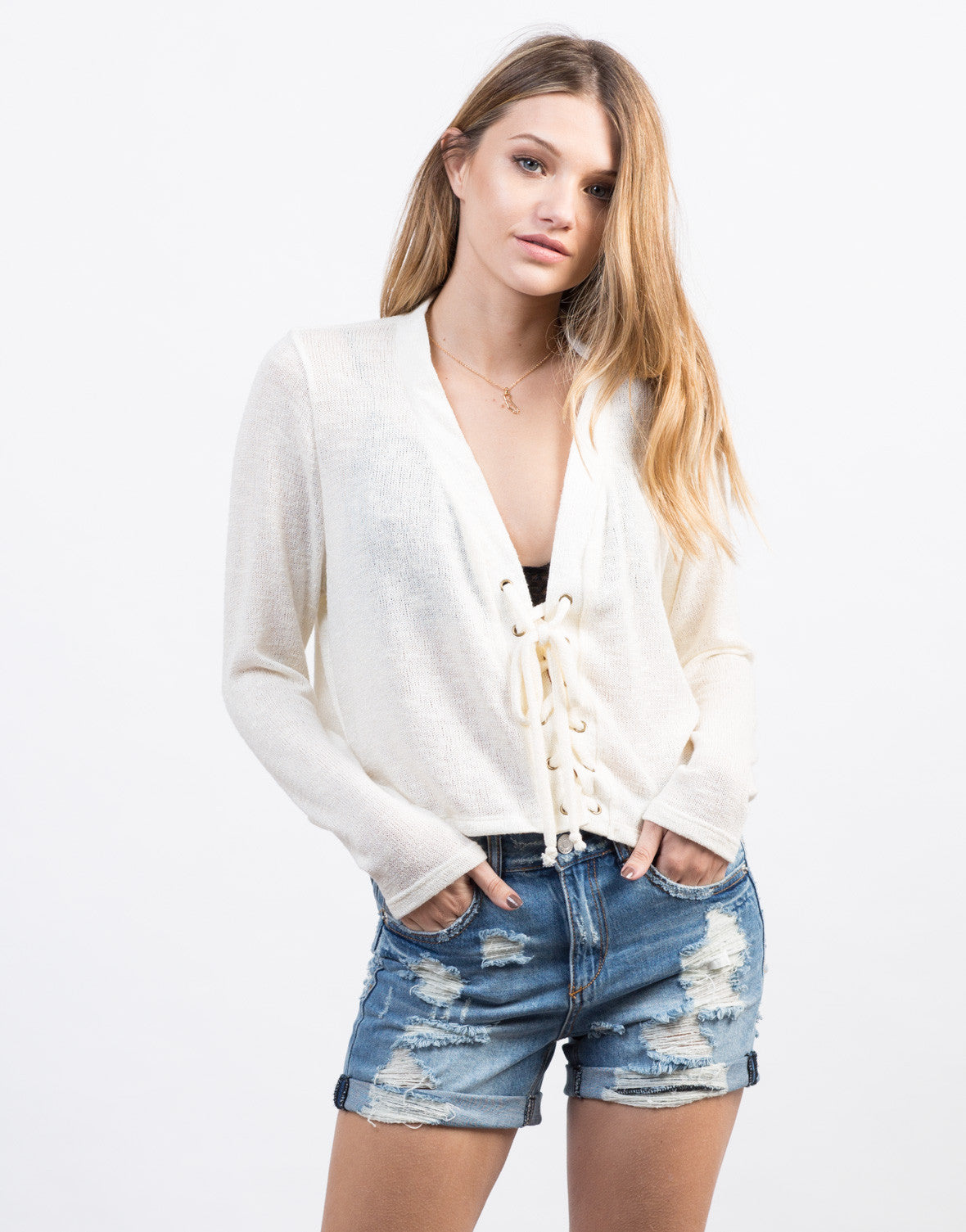 Front View of Knitted Lace-Up Sweater Top
