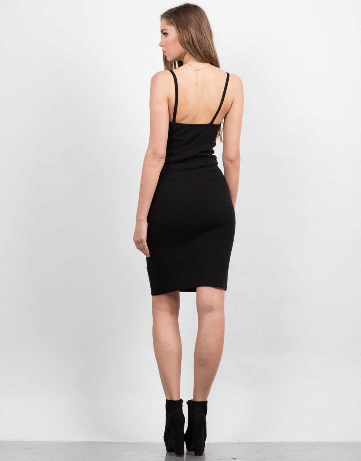 Back View of Knitted Bodycon Midi Dress