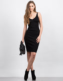 Front View of Knitted Bodycon Midi Dress