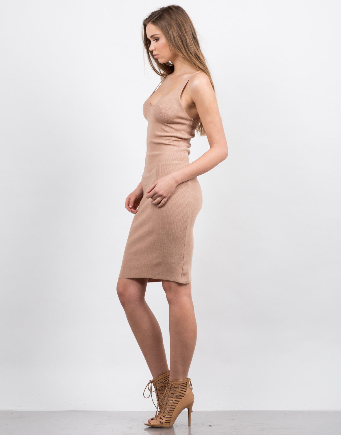 Side View of Knitted Bodycon Midi Dress