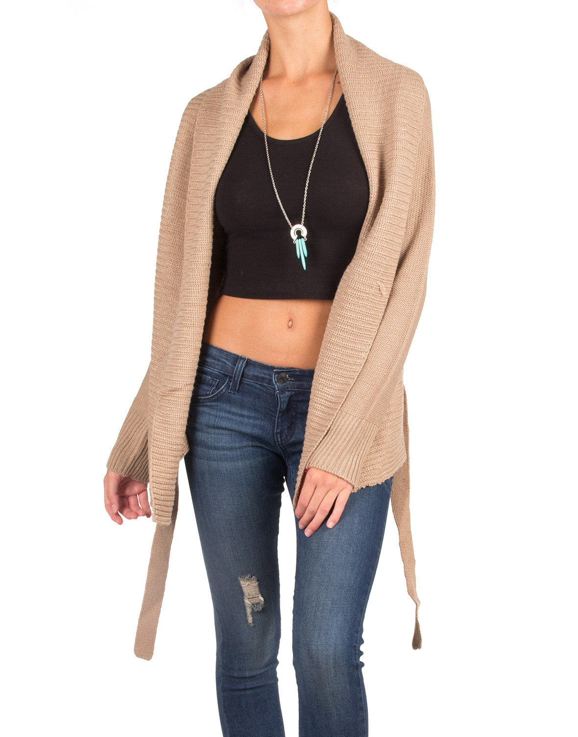 Knitted Cardigan with a Waist String - Taupe