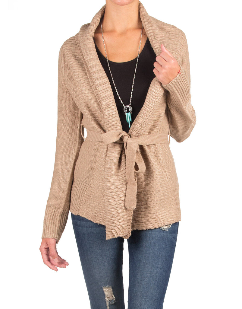 Knitted Cardigan with a Waist String - Taupe - 2020AVE