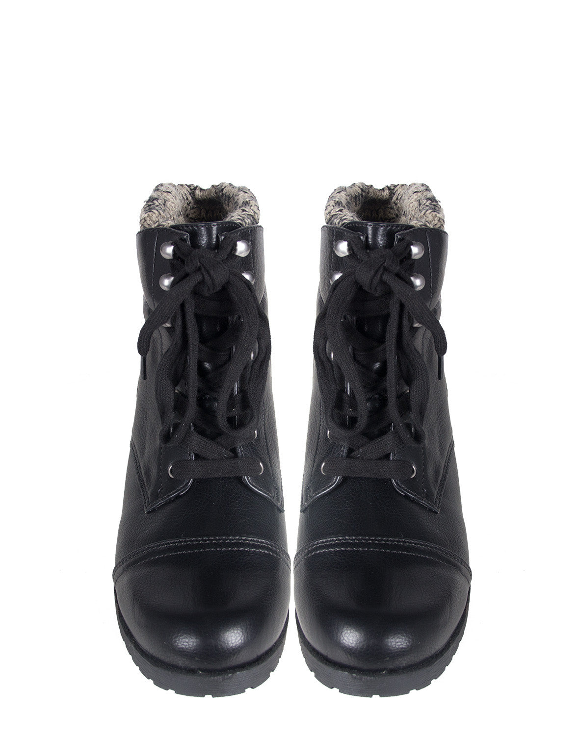 Knitted Cuff Combat Booties Qupid Wyatte-05x in black