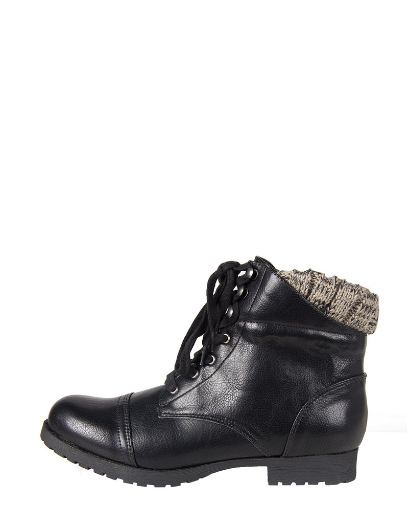 Knitted Cuff Combat Booties - Black - 2020AVE