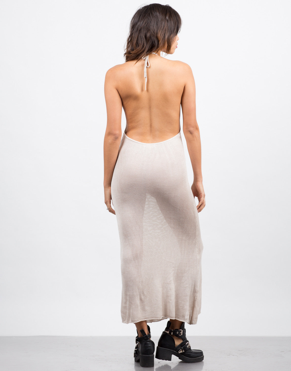 Back View of Knitted Halter Midi Dress