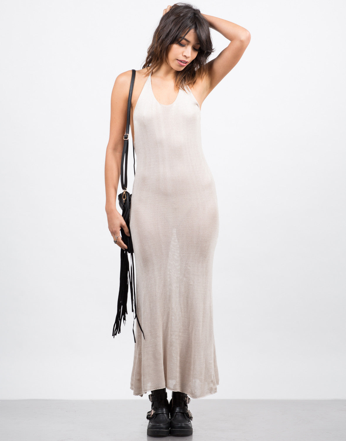 Front View of Knitted Halter Midi Dress