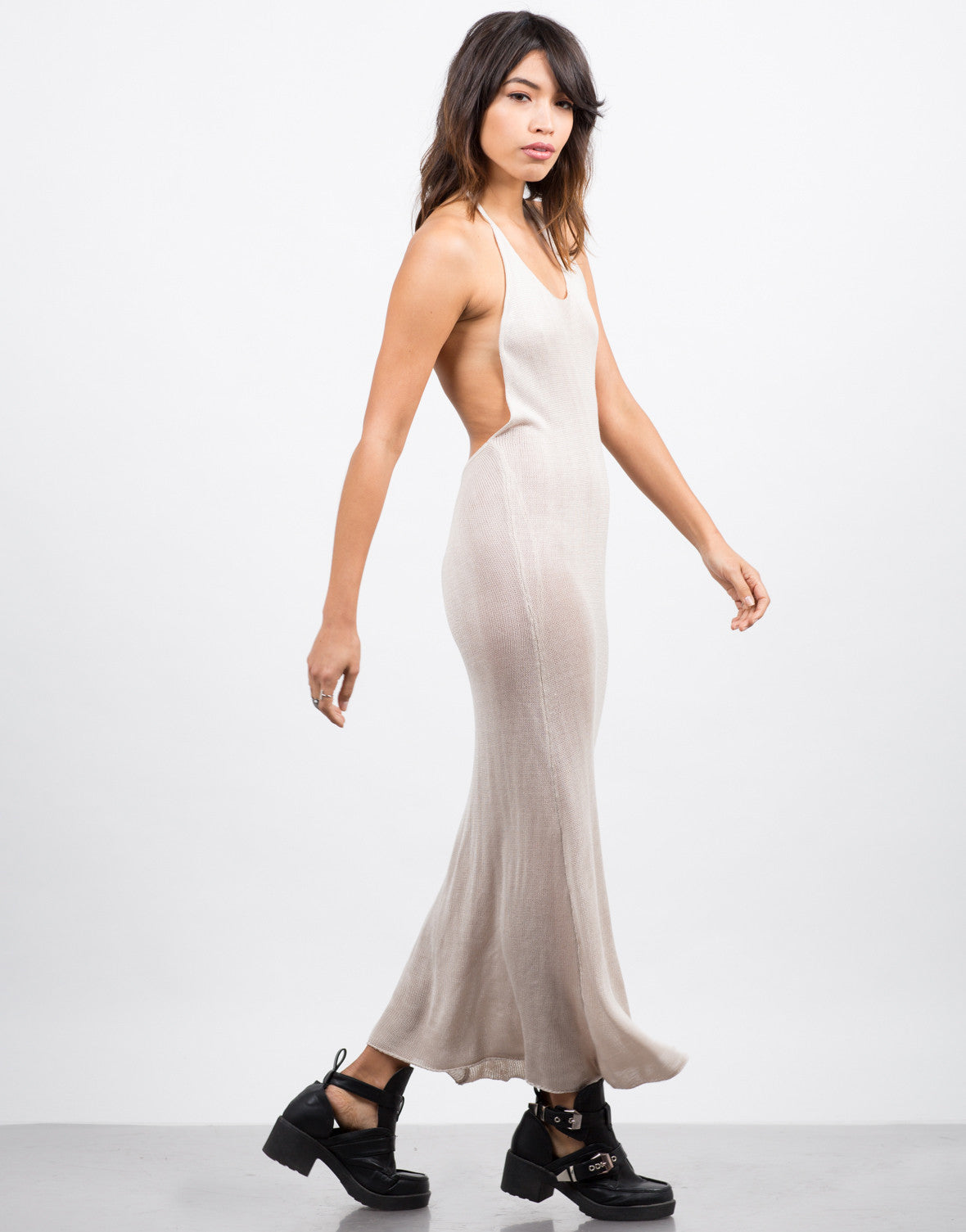 Side View of Knitted Halter Midi Dress