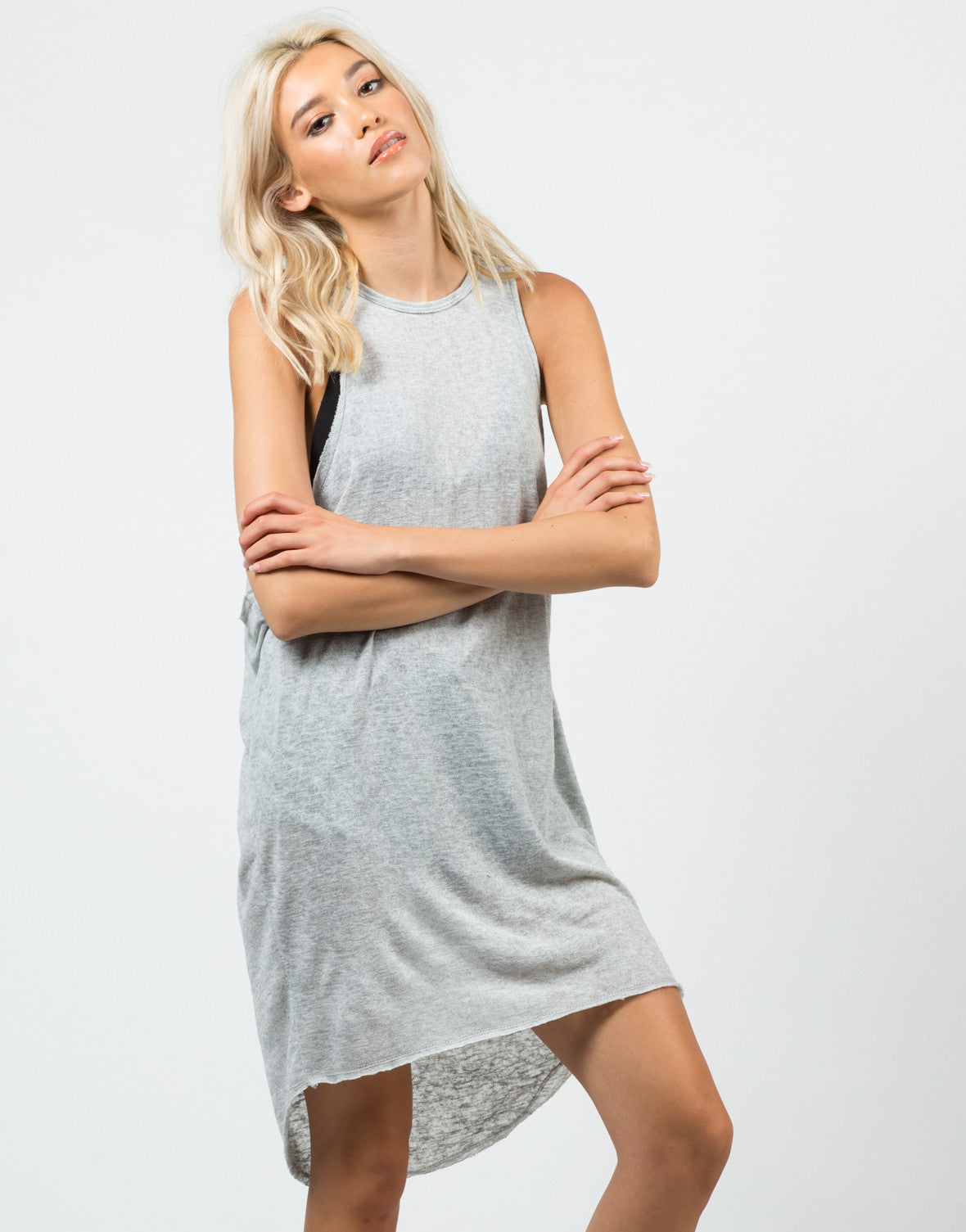 Front View of Knitted Open Sides Dress