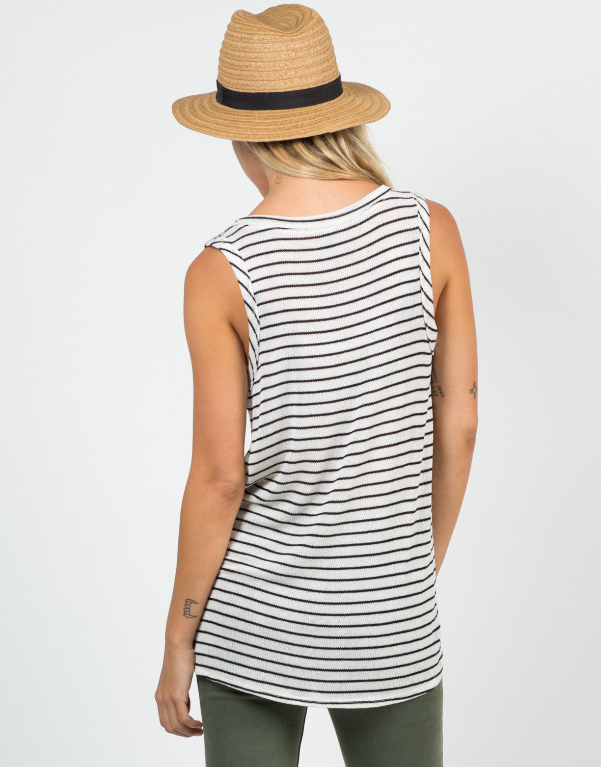Back View of Knitted Striped Tank