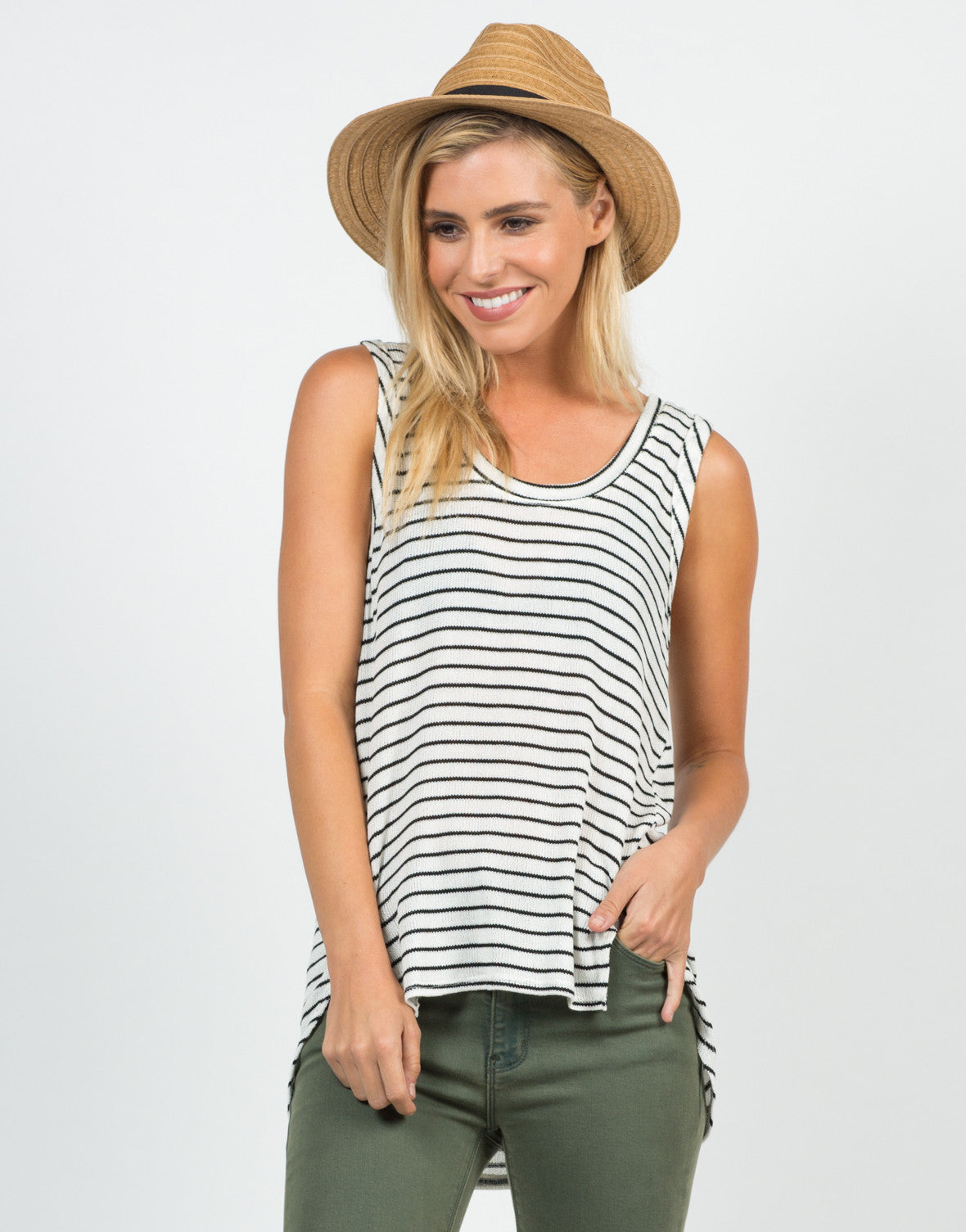 Front View of Knitted Striped Tank