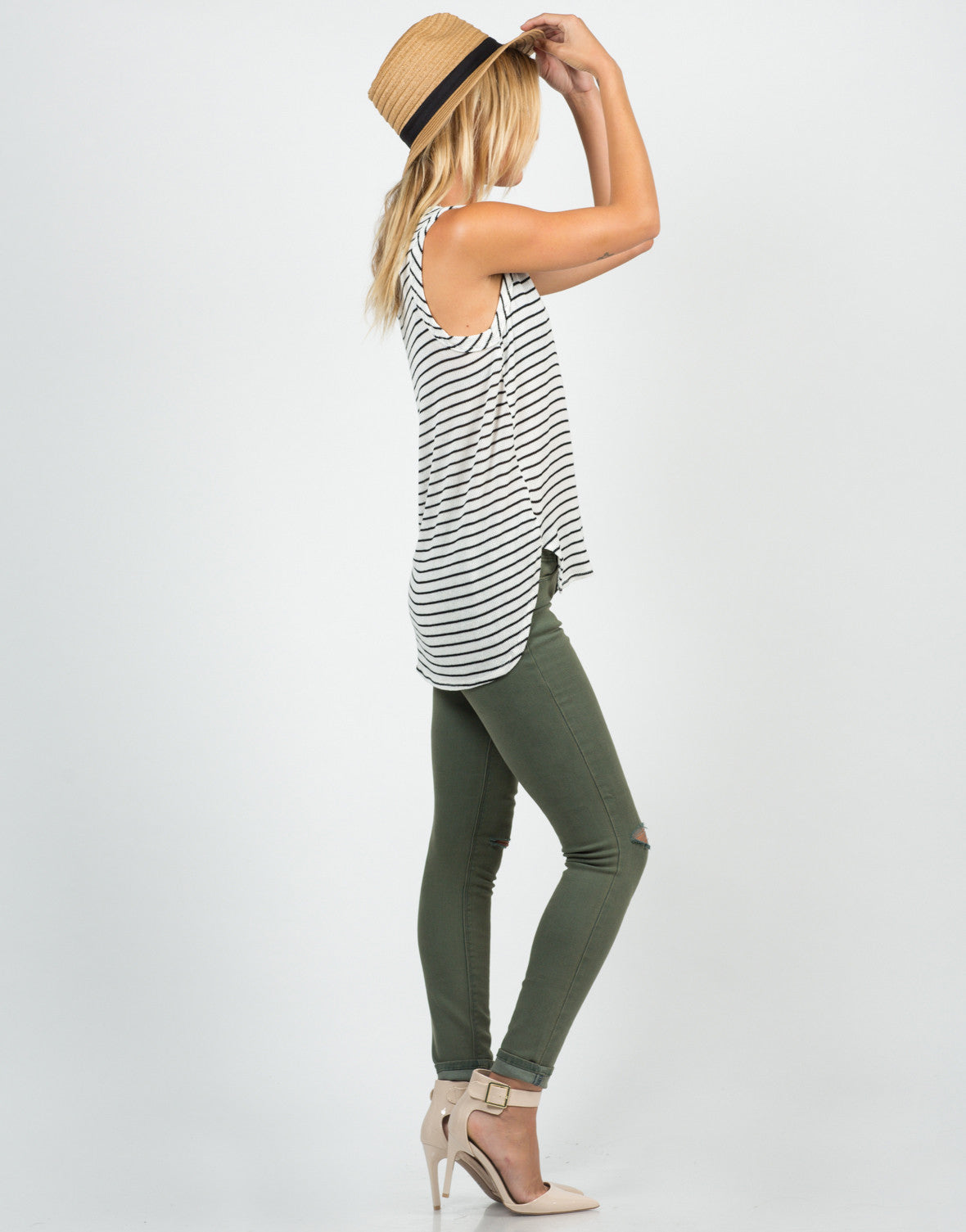 Side View of Knitted Striped Tank