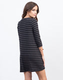 Back View of Knitted Stripe Swing Dress