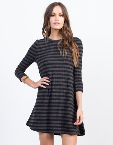 Front View of Knitted Stripe Swing Dress