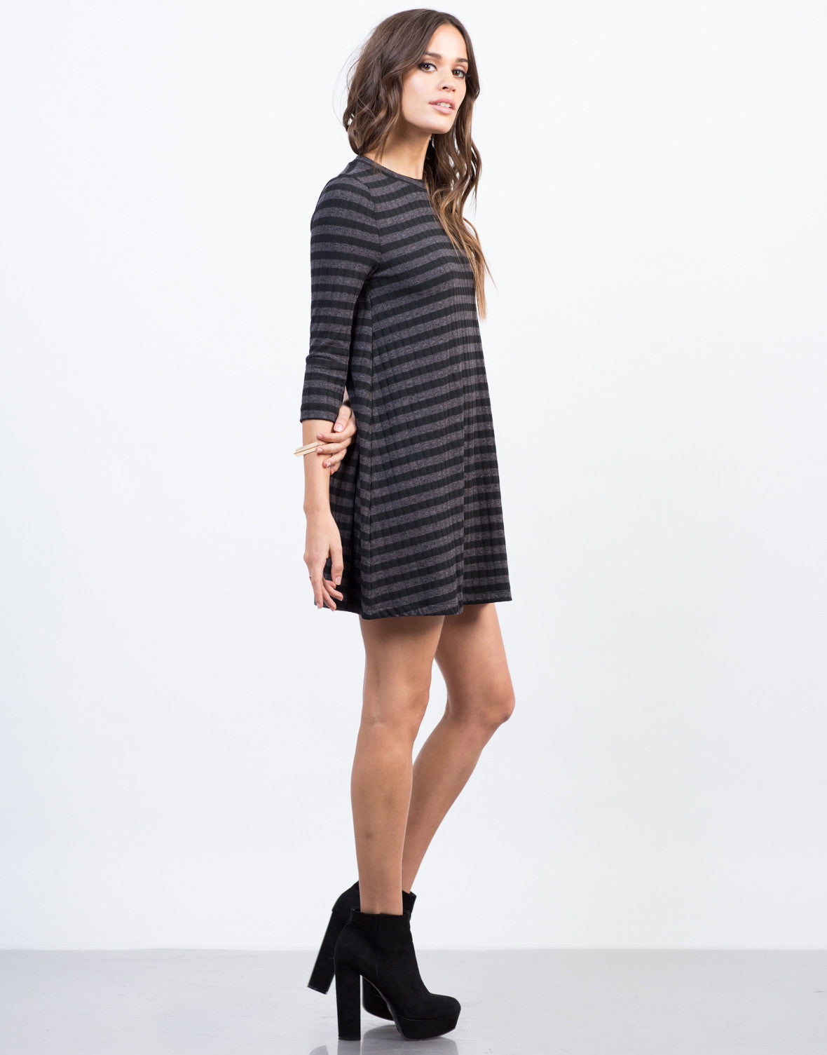 Side View of Knitted Stripe Swing Dress