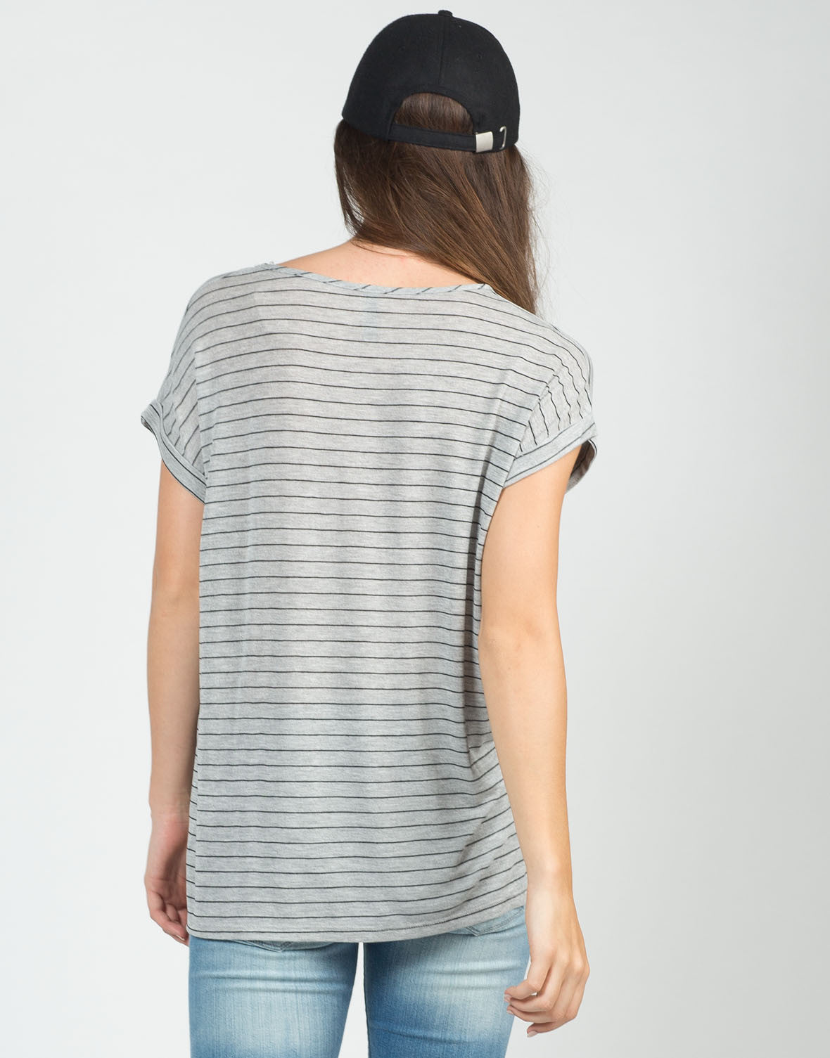 Back View of Knitted Stripe Tee