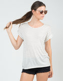 Front View of Knitted Stripe Tee