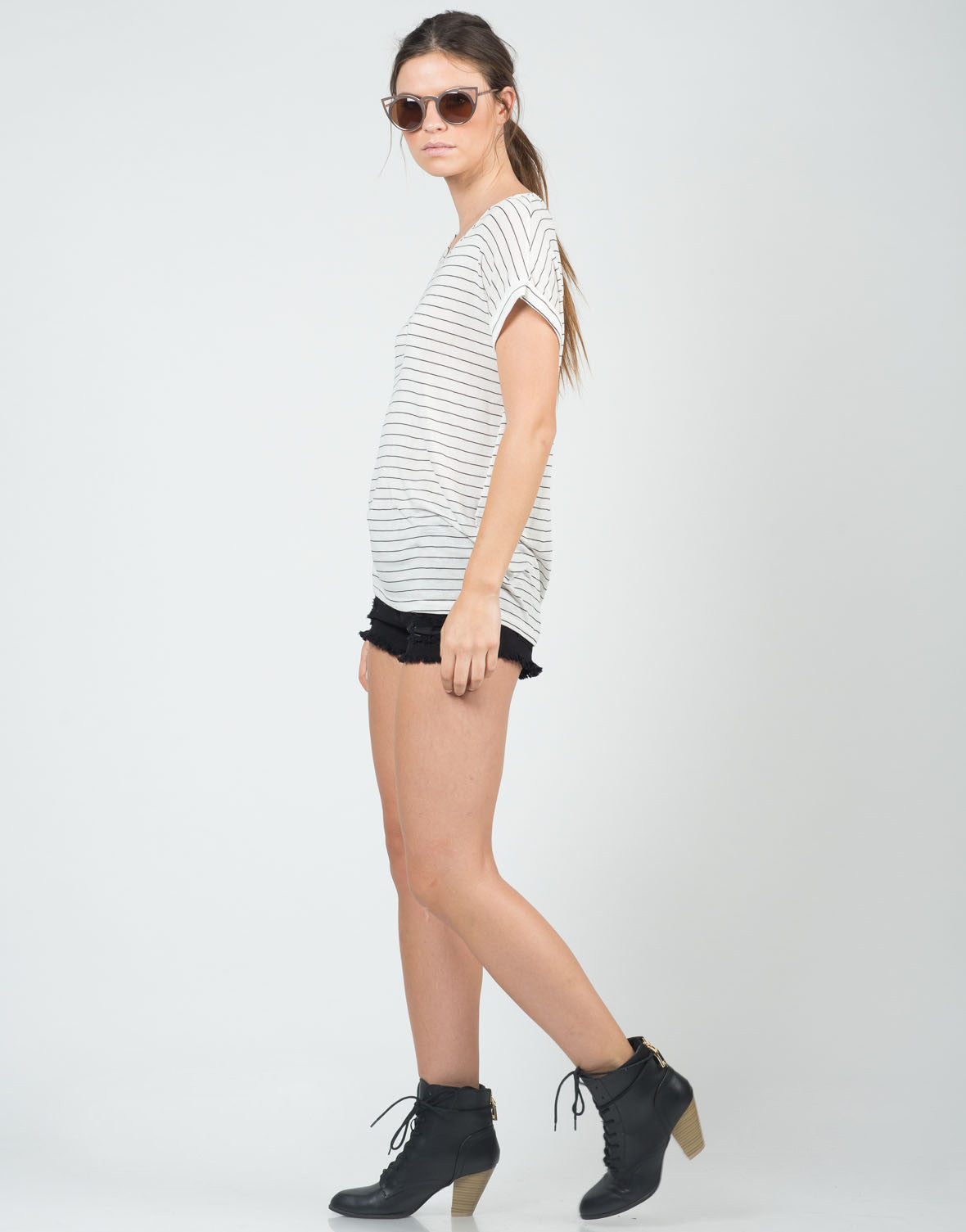 Side View of Knitted Stripe Tee