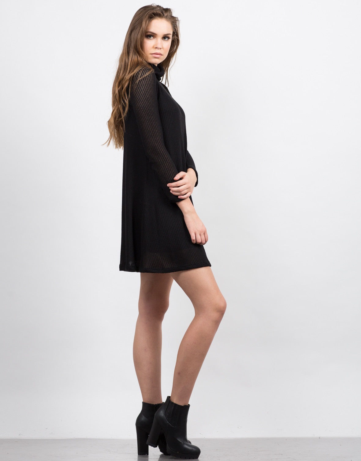Side View of Knitted Sweater Dress