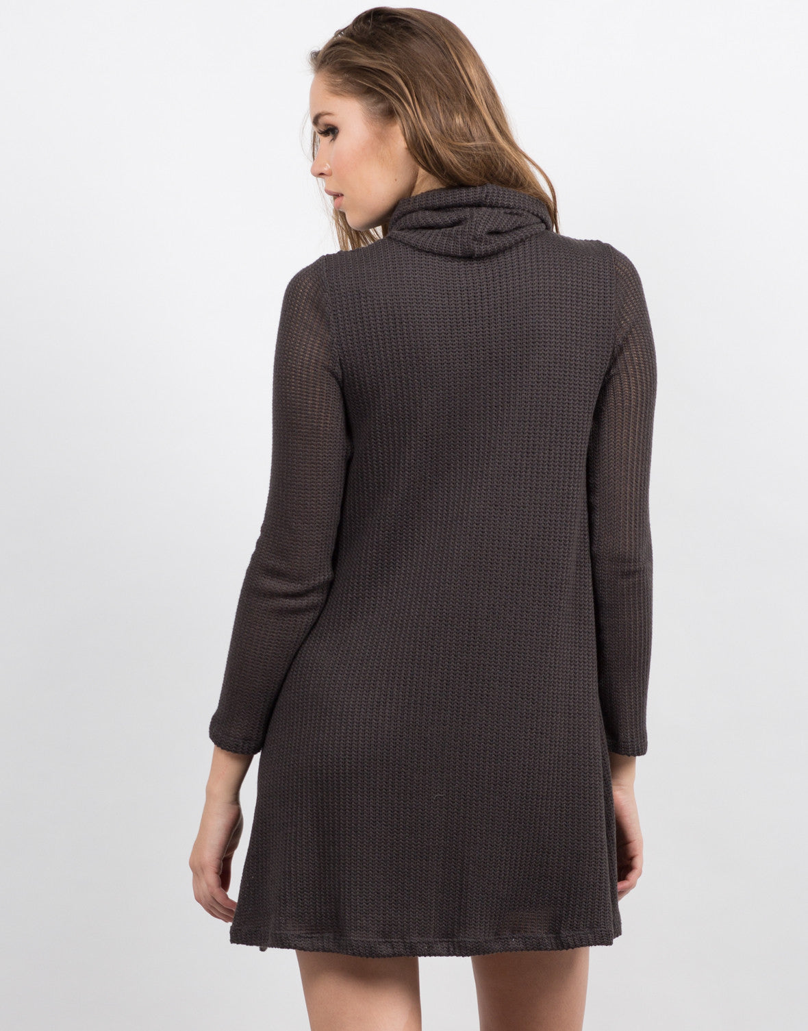 Back View of Knitted Sweater Dress