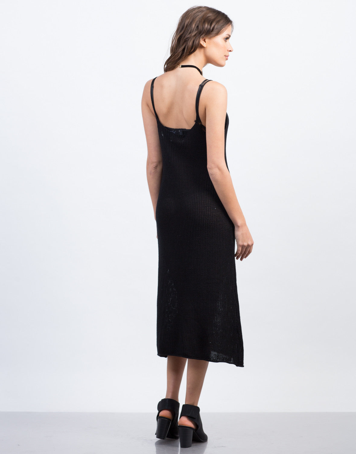 Back View of Knitted Tank Midi Dress