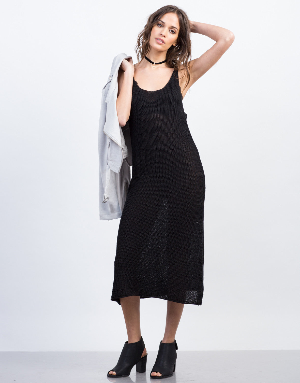 Knitted Tank Midi Dress - Day Dress - Lightweight Sheer ...