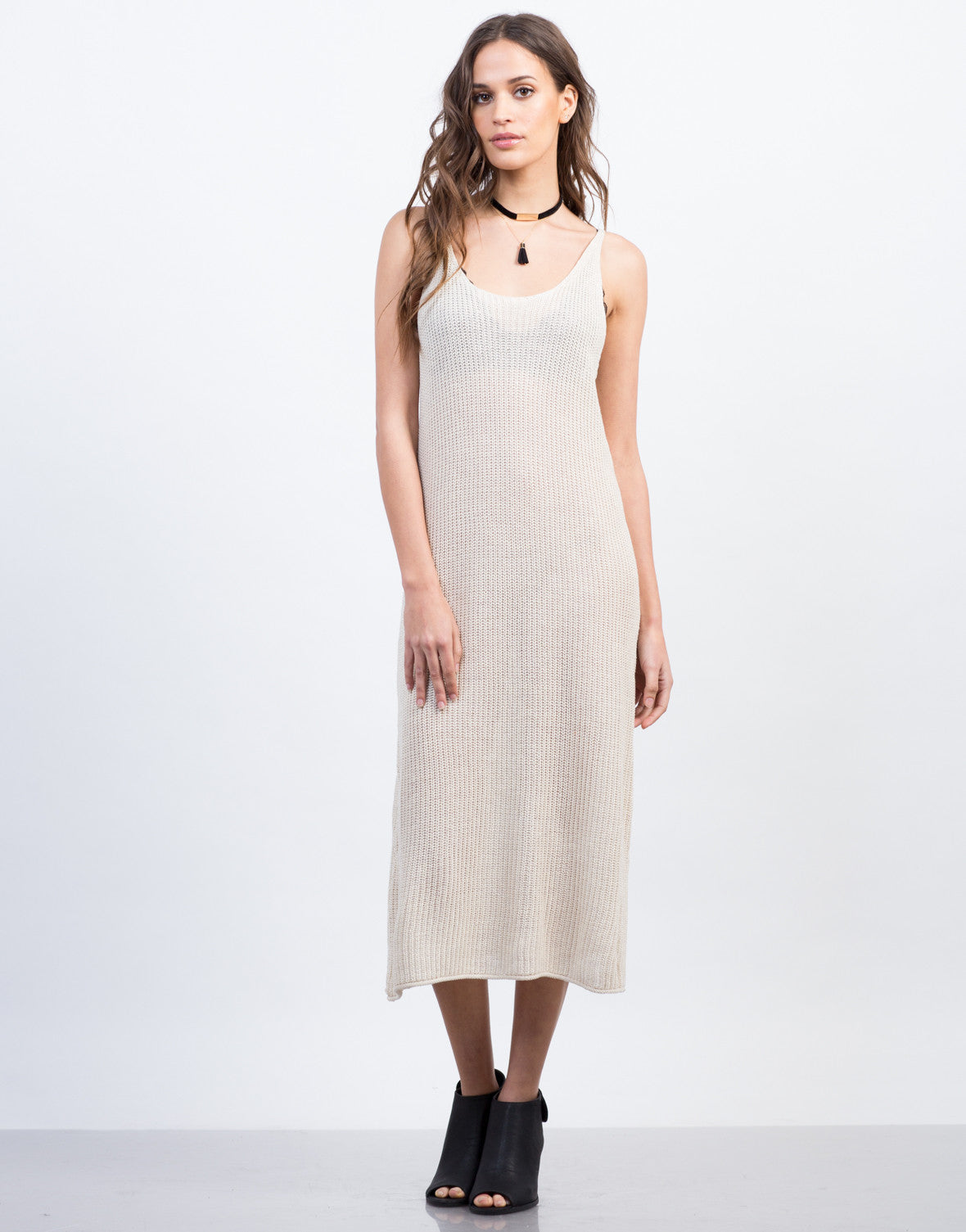 Front View of Knitted Tank Midi Dress