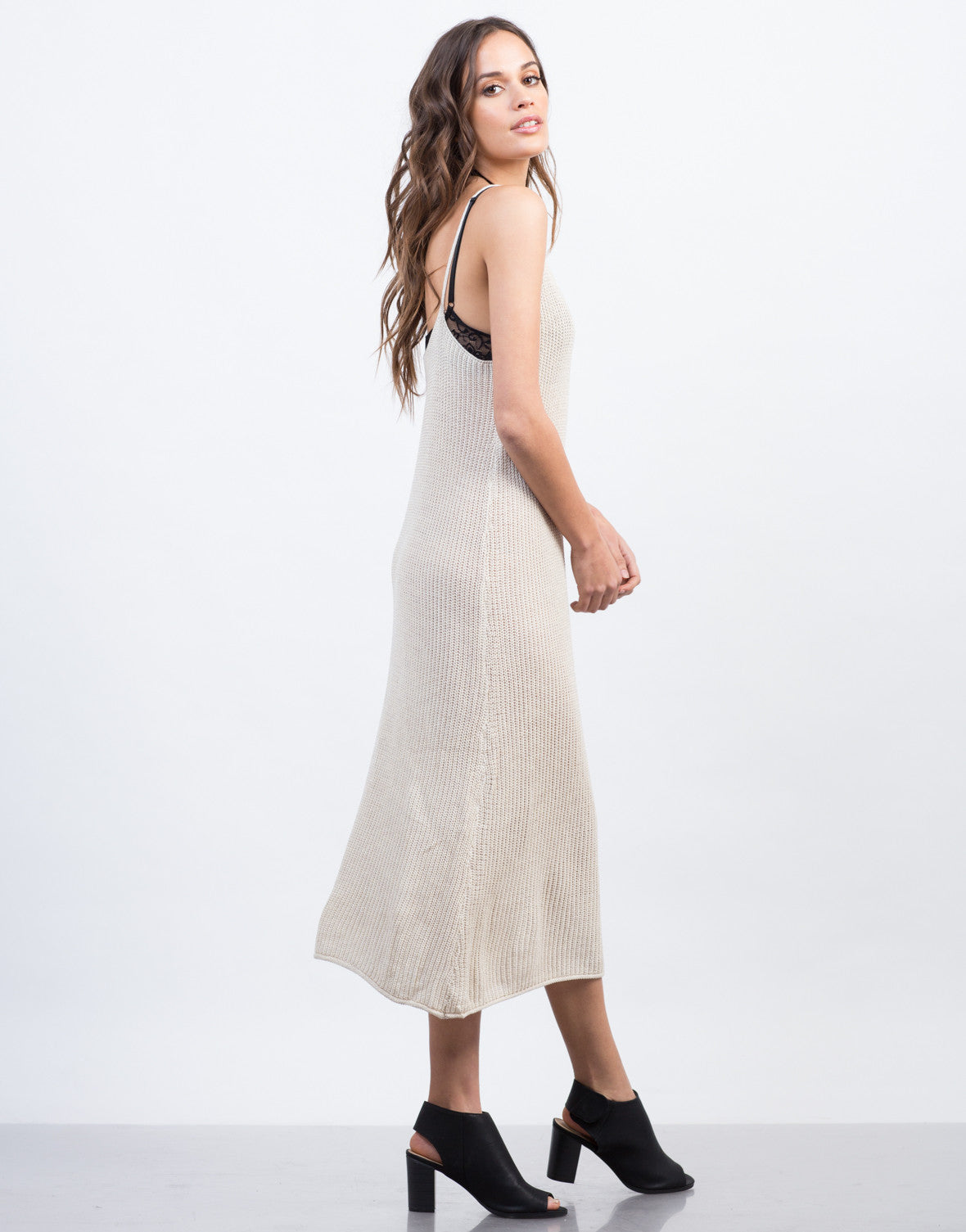 Side View of Knitted Tank Midi Dress