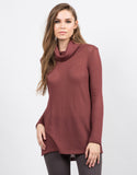 Front View of Knit Turtleneck Tunic Top