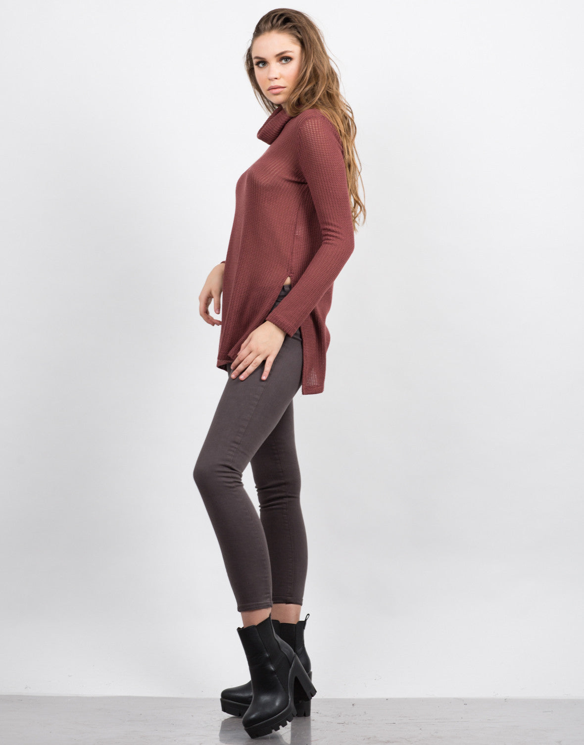 Side View of Knit Turtleneck Tunic Top