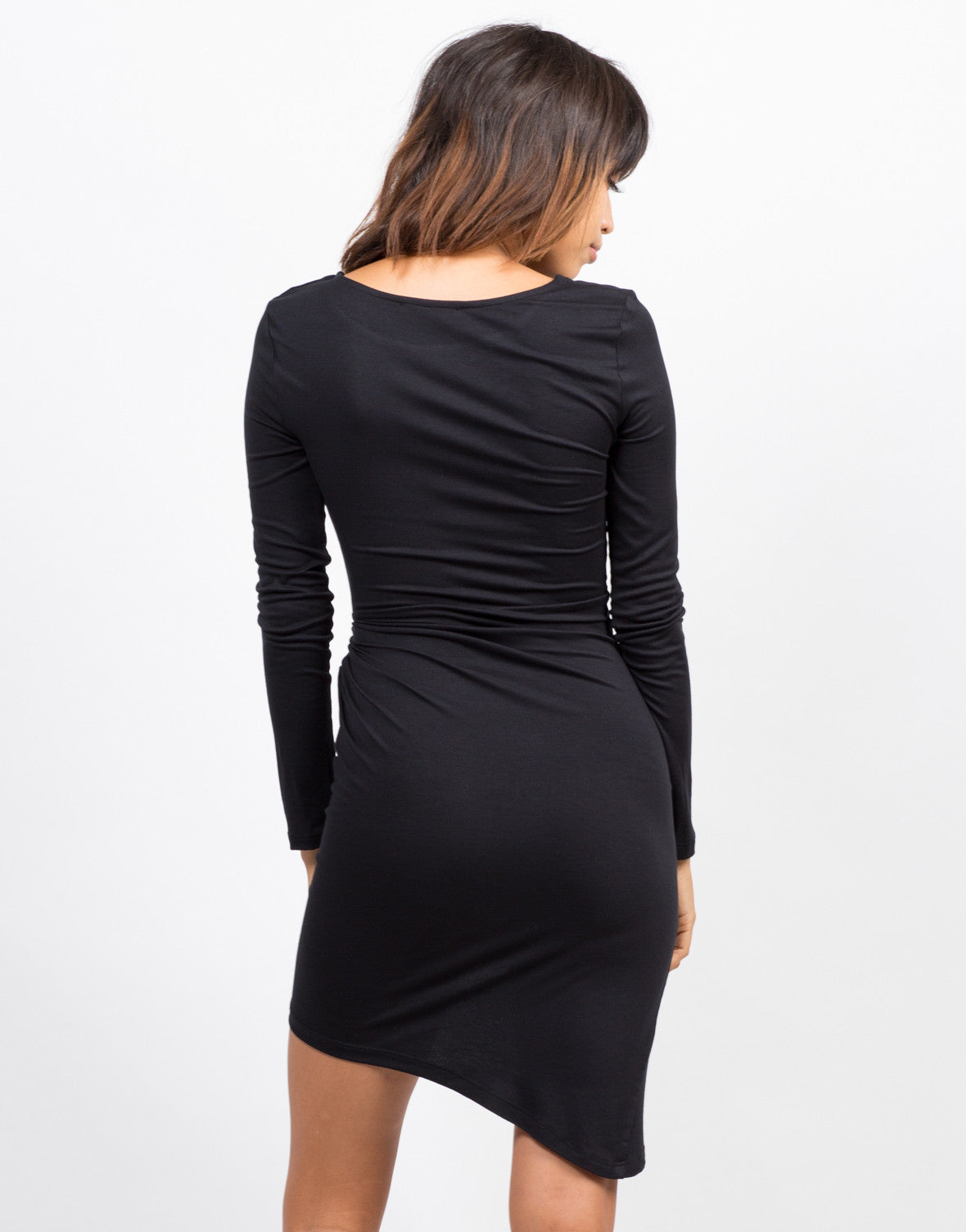 Back View of Knot It Long Sleeve Dress