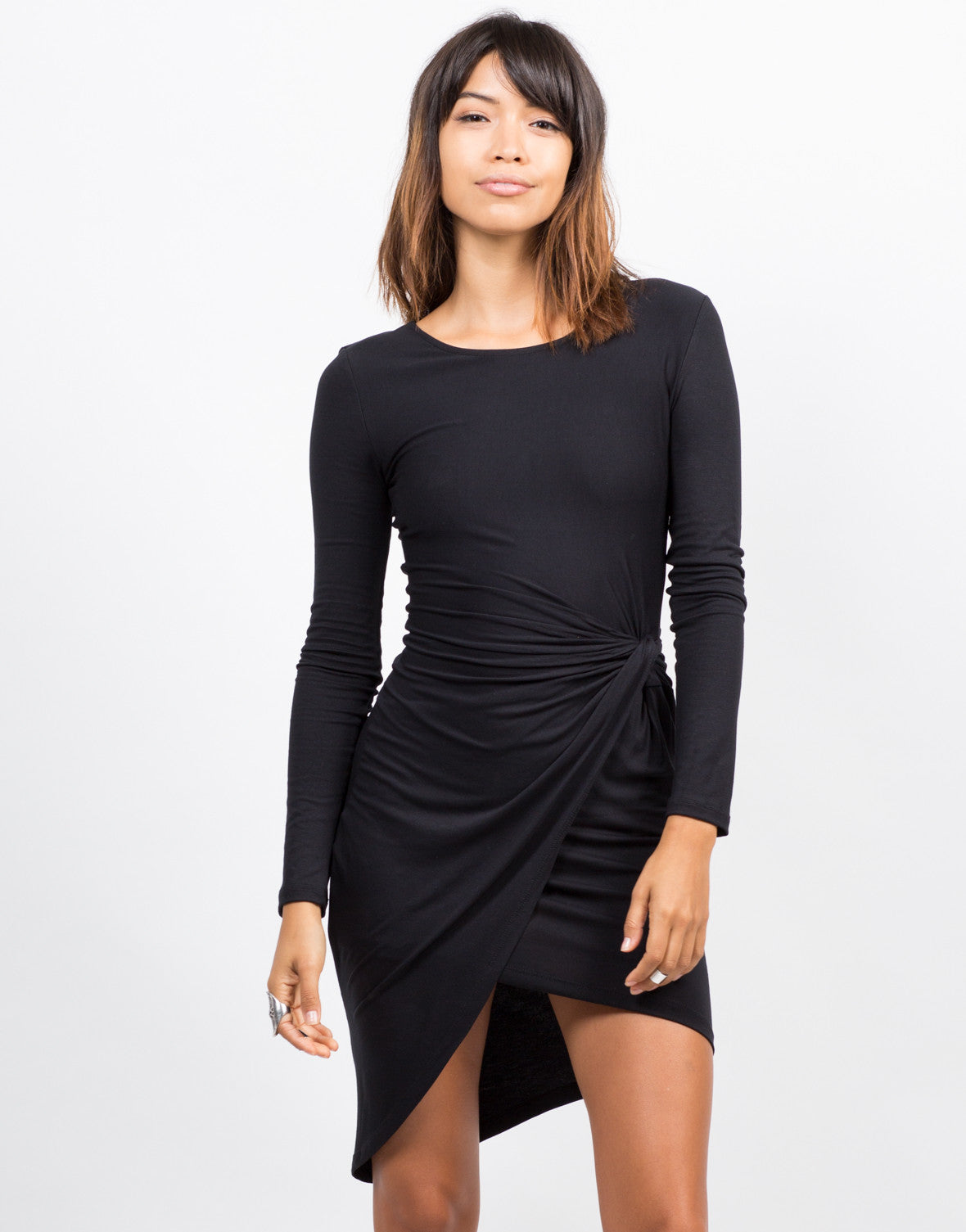 Front View of Knot It Long Sleeve Dress