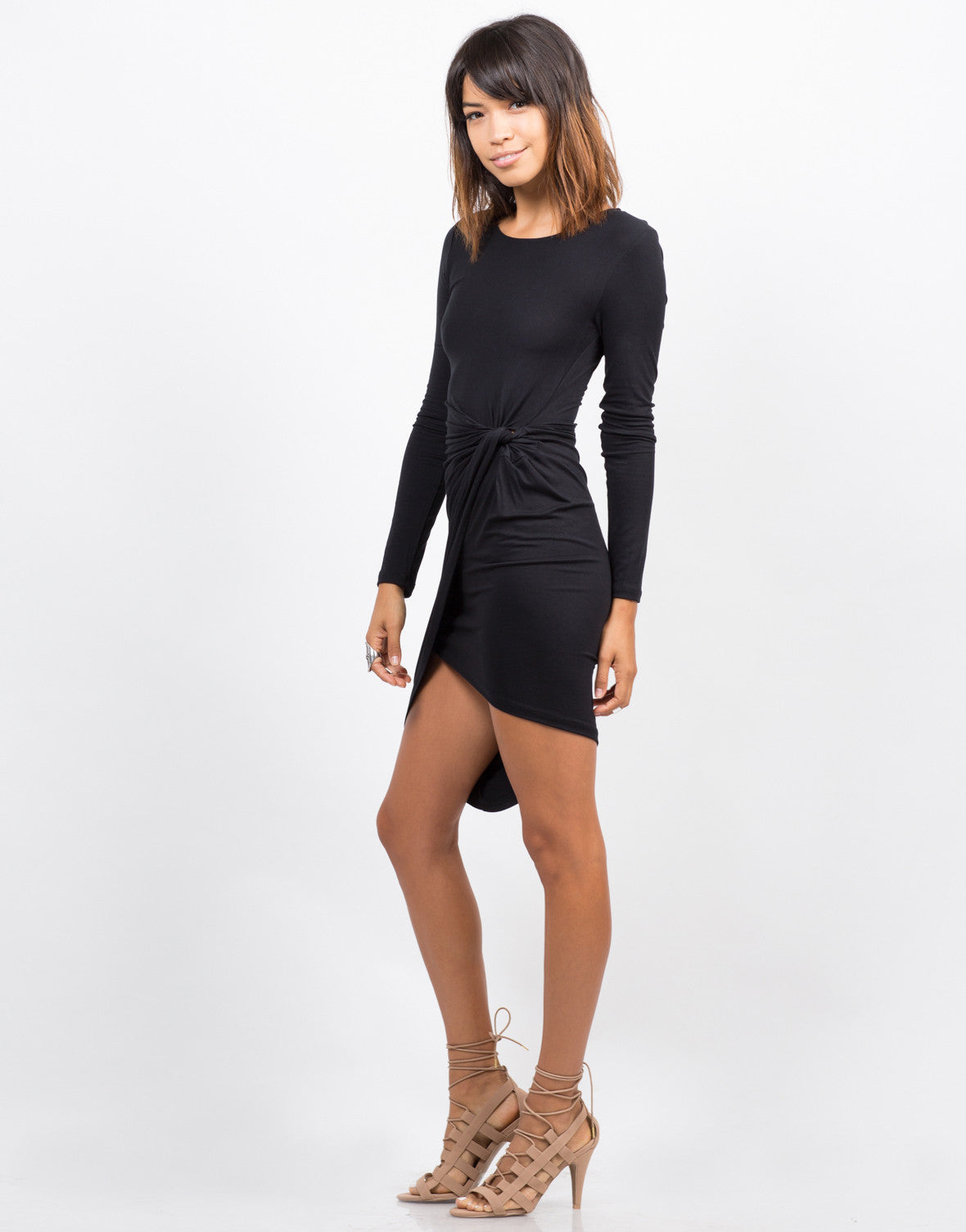 Side View of Knot It Long Sleeve Dress
