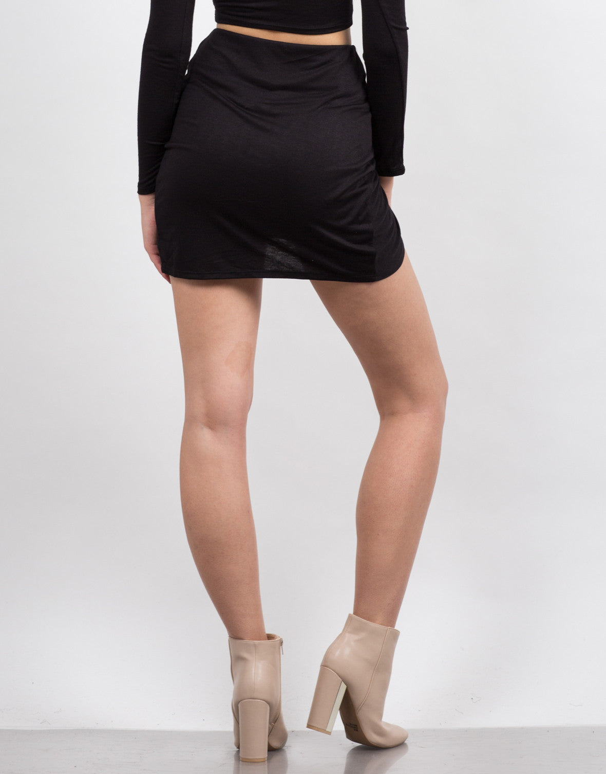 Back View of Knot It Mini Skirt