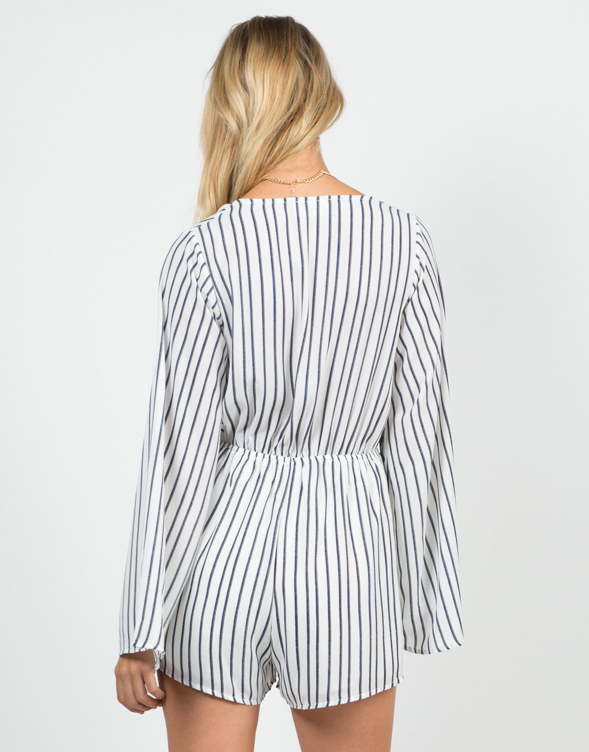 Back View of Knot It Striped Romper