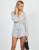 Front View of Knot It Striped Romper
