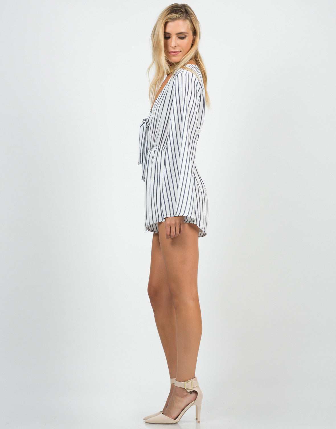 Side View of Knot It Striped Romper
