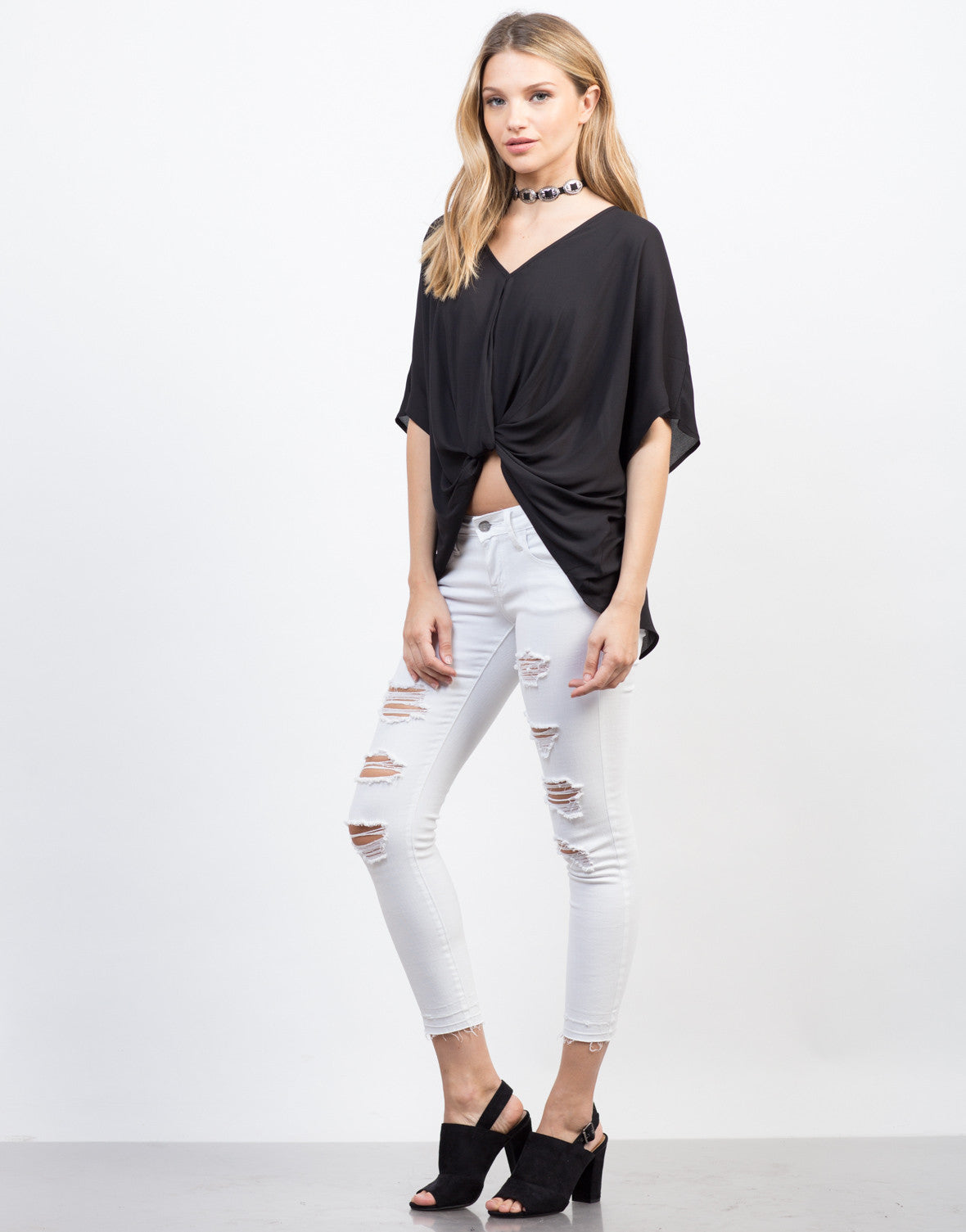Side View of Knotted Chiffon Top
