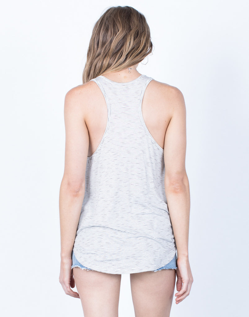 Back View of Knotted into Stripes Tank