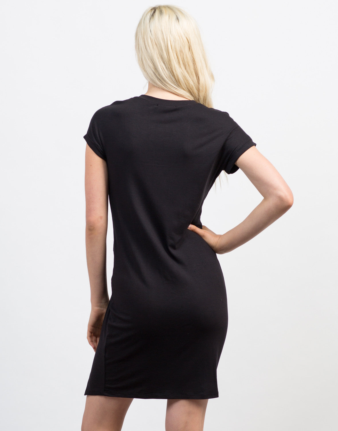 Back View of Knotted Tee Dress
