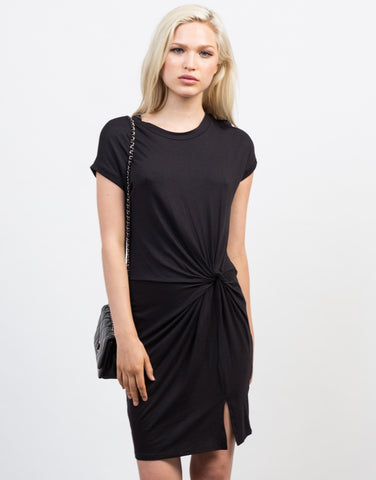 Front View of Knotted Tee Dress